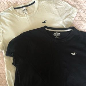 Hollister curved hem tee size S white and black